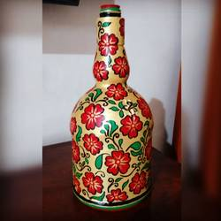 hand painted glass bottle, 5 x 10 inch, anjana powell,5x10inch,acrylic glass,vases,acrylic color,GAL02138833346