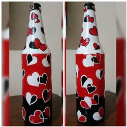 hand painted glass bottle (single bottle), 4 x 11 inch, anjana powell,4x11inch,acrylic glass,vases,acrylic color,GAL02138833347