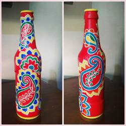 hand painted glass bottle (single bottle), 4 x 11 inch, anjana powell,4x11inch,acrylic glass,handicrafts,vases,acrylic color,GAL02138833348
