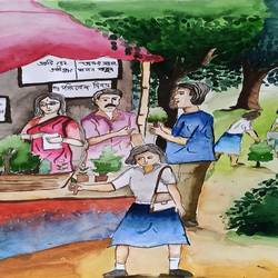 tree plantation, 16 x 15 inch, subham roy,16x15inch,thick paper,paintings,modern art paintings,paintings for living room,paintings for kids room,paintings for school,watercolor,GAL01992533349