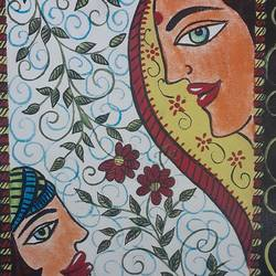 madhubani art, 9 x 12 inch, shruti tandon,9x12inch,canvas,folk art paintings,paintings for living room,paintings for living room,acrylic color,GAL02149733362