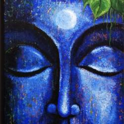 buddha in moonlight, 18 x 36 inch, ravindra  chandanshive,18x36inch,canvas,paintings,buddha paintings,paintings for dining room,paintings for living room,paintings for office,paintings for hotel,paintings for school,paintings for hospital,acrylic color,GAL02151033364