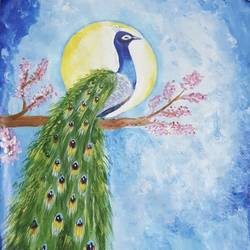 peacock , 12 x 18 inch, sheetal chaudhary,12x18inch,ivory sheet,paintings,landscape paintings,nature paintings | scenery paintings,paintings for dining room,paintings for living room,paintings for bedroom,paintings for office,paintings for kids room,paintings for hotel,paintings for kitchen,paintings for school,paintings for hospital,acrylic color,GAL01560333366