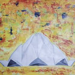 lotus temple , 12 x 18 inch, sheetal chaudhary,12x18inch,ivory sheet,paintings,abstract paintings,figurative paintings,religious paintings,abstract expressionism paintings,paintings for dining room,paintings for living room,paintings for bedroom,paintings for office,paintings for kids room,paintings for hotel,paintings for kitchen,paintings for school,paintings for hospital,acrylic color,GAL01560333367