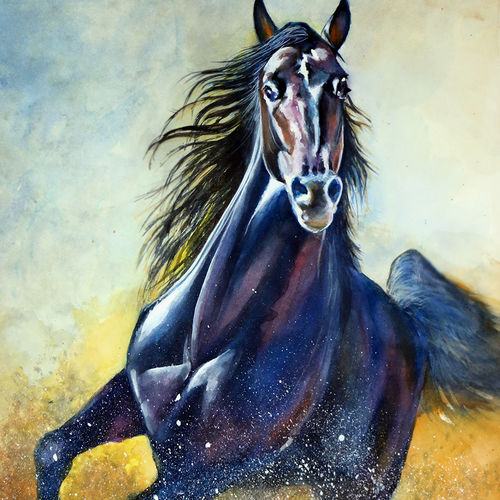 knight of the storm, 22 x 30 inch, shaveta choudhary,paintings for living room,animal paintings,vertical,renaissance watercolor paper,watercolor,22x30inch,GAL012413337