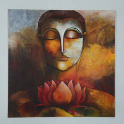 divine peace , 4 x 4 inch, manjit  vani,4x4inch,canvas,paintings,buddha paintings,acrylic color,oil color,GAL02127433373