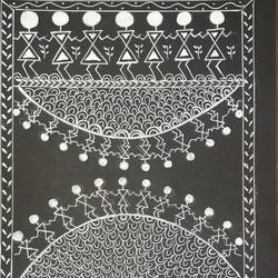 warli art, 9 x 12 inch, shruti tandon,9x12inch,thick paper,paintings,folk art paintings,paintings for living room,pen color,GAL02149733377