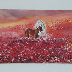 all for love, 4 x 2 inch, manjit  vani,4x2inch,canvas,horse paintings,oil color,GAL02127433378