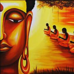 disciples, 48 x 36 inch, ravindra  chandanshive,48x36inch,canvas,paintings,buddha paintings,acrylic color,GAL02151033380