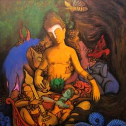 compassion, 30 x 36 inch, ravindra  chandanshive,30x36inch,canvas,paintings,buddha paintings,paintings for dining room,paintings for living room,paintings for bedroom,paintings for office,paintings for hotel,paintings for school,paintings for hospital,acrylic color,GAL02151033381