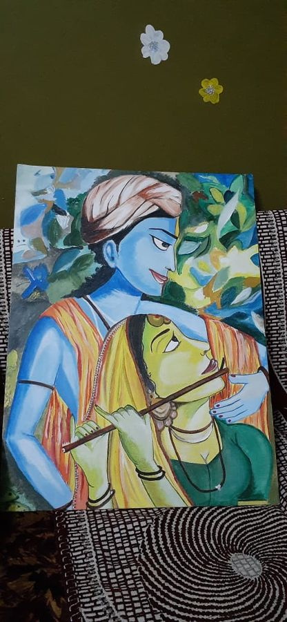 radhekrishna portrait...fallenin love to see their beauty , 18 x 24 inch, tulika  singh,18x24inch,canvas,religious paintings,acrylic color,GAL02159833384