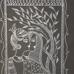 warli art, 9 x 12 inch, shruti tandon,9x12inch,drawing paper,paintings,folk art paintings,paintings for living room,paintings for office,pen color,GAL02149733386