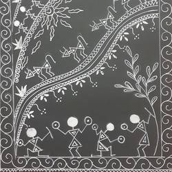 warli art, 9 x 12 inch, shruti tandon,9x12inch,drawing paper,paintings,folk art paintings,paintings for living room,paintings for office,pen color,GAL02149733387