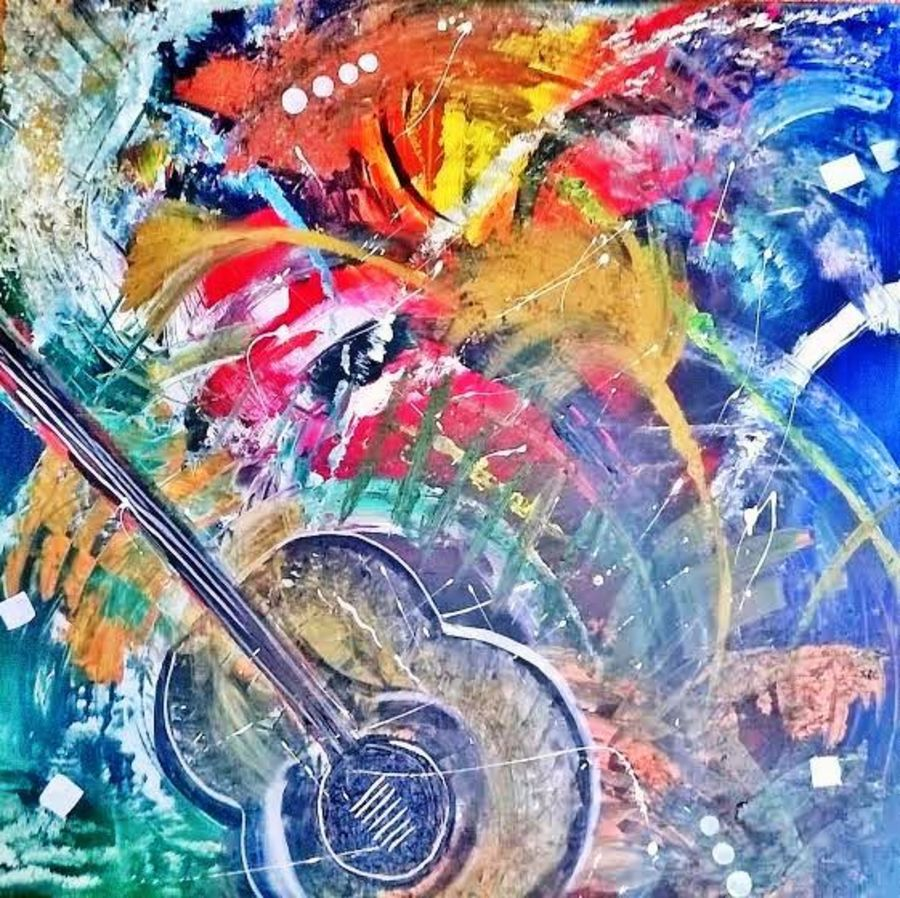 abstract art of guitar - a musical concept, 36 x 36 inch, indhuja raghavan,abstract paintings,paintings for living room,canvas board,acrylic color,36x36inch,GAL01103339