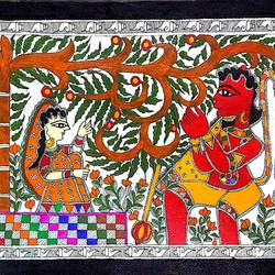 sitaji - hanumanji at ashok vatika, 15 x 11 inch, nimisha kumari,15x11inch,handmade paper,paintings,religious paintings,madhubani paintings | madhubani art,paintings for living room,paintings for bedroom,paintings for office,paintings for hotel,paintings for school,acrylic color,mixed media,paper,GAL02122733390