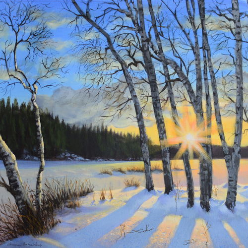 winter sunset, 12 x 16 inch, chinmay bahulekar,12x16inch,canvas,paintings,nature paintings   scenery paintings,realistic paintings,paintings for dining room,paintings for living room,paintings for bedroom,paintings for office,paintings for kids room,paintings for hotel,paintings for school,paintings for hospital,acrylic color,GAL0720433395