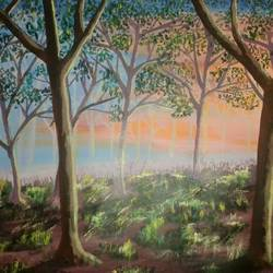 bright morning, 30 x 24 inch, subhash gijare,landscape paintings,fabriano sheet,acrylic color,30x24inch,GAL0138334
