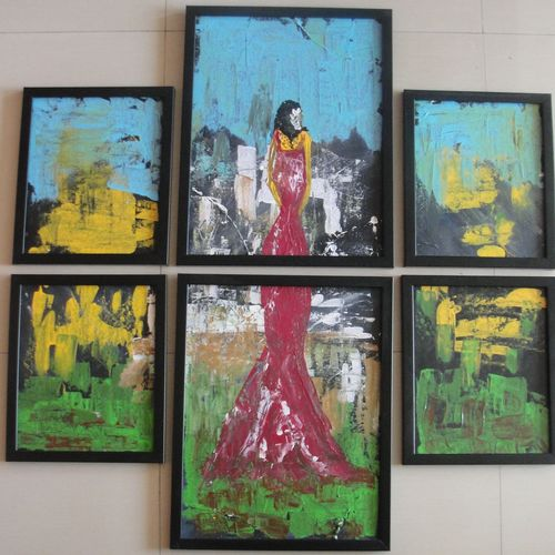 abstract art 6 pieces, 36 x 36 inch, indhuja raghavan,abstract paintings,paintings for living room,canvas board,acrylic color,36x36inch,GAL01103340