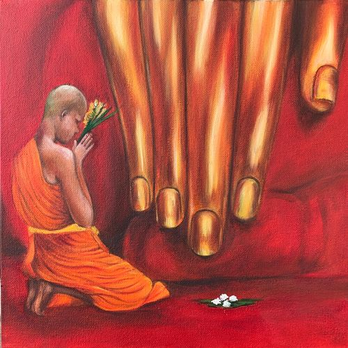 devotion , 12 x 12 inch, monisha  singhal,12x12inch,canvas,paintings,buddha paintings,multi piece paintings,conceptual paintings,religious paintings,expressionism paintings,paintings for dining room,paintings for living room,paintings for office,paintings for hotel,paintings for hospital,oil color,GAL0473833406