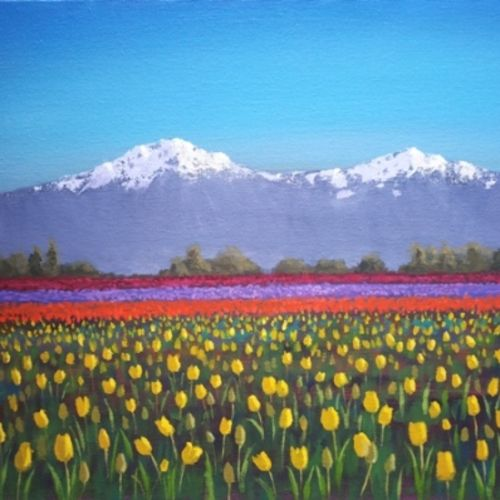 tulip garden, 12 x 16 inch, chinmay bahulekar,12x16inch,canvas,paintings,flower paintings,landscape paintings,nature paintings | scenery paintings,realistic paintings,paintings for dining room,paintings for living room,paintings for bedroom,paintings for office,paintings for bathroom,paintings for kids room,paintings for hotel,paintings for kitchen,paintings for school,paintings for hospital,acrylic color,GAL0720433410