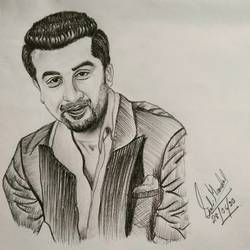 ranvir kapoor, 9 x 9 inch, siuli mandal,9x9inch,drawing paper,drawings,portrait drawings,paintings for living room,paintings for bedroom,paintings for office,paintings for hotel,graphite pencil,GAL02130433418