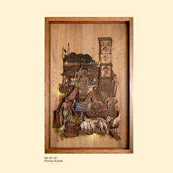piscean friends, 28 x 45 inch, shriram mandale,28x45inch,wood board,handicrafts,wall hangings,wood,GAL02165133421