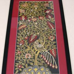 tree of life, 20 x 36 inch, nilam kapadia,20x36inch,silk,paintings,madhubani paintings | madhubani art,paintings for dining room,paintings for living room,paintings for bedroom,paintings for office,paintings for hotel,paintings for hospital,fabric,GAL02153433440