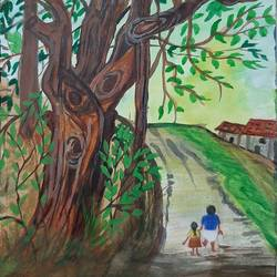village painting, 6 x 9 inch, vaishnavi ninawe,6x9inch,thick paper,paintings,landscape paintings,nature paintings | scenery paintings,paintings for living room,watercolor,GAL02076833446