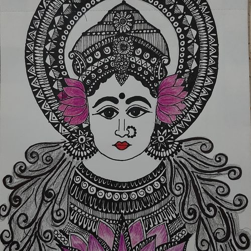 laxmi ji drawing, 6 x 8 inch, vaishnavi ninawe,6x8inch,drawing paper,paintings for dining room,paintings for living room,fine art drawings,paintings for dining room,paintings for living room,pen color,pencil color,GAL02076833448