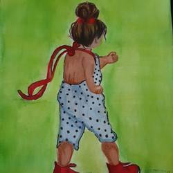 little girl painting, 6 x 9 inch, vaishnavi ninawe,6x9inch,thick paper,baby paintings,children paintings,kids paintings,paintings for dining room,paintings for living room,paintings for bedroom,paintings for kids room,paintings for school,paintings for dining room,paintings for living room,paintings for bedroom,paintings for kids room,paintings for school,pen color,watercolor,GAL02076833449