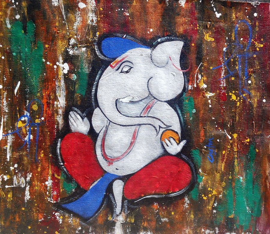 kapila, 16 x 16 inch, chetan katigar,religious paintings,paintings for living room,vertical,canvas,mixed media,16x16inch,GAL02663345