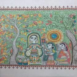 mela, 30 x 24 inch, nilam kapadia,30x24inch,silk,paintings,madhubani paintings | madhubani art,paintings for dining room,paintings for living room,paintings for bedroom,paintings for office,paintings for hotel,paintings for school,paintings for hospital,fabric,mixed media,GAL02153433452
