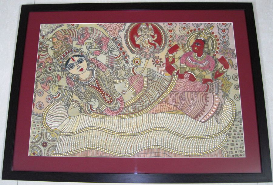 vishnu, 36 x 24 inch, nilam kapadia,36x24inch,silk,paintings,madhubani paintings | madhubani art,paintings for dining room,paintings for living room,paintings for bedroom,paintings for office,paintings for hotel,paintings for school,fabric,GAL02153433453