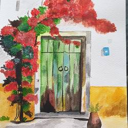 darwaza, ingress to my soul, the closed door, 9 x 12 inch, swatee chaturvedi,9x12inch,brustro watercolor paper,paintings,realistic paintings,paintings for living room,watercolor,GAL02168333466