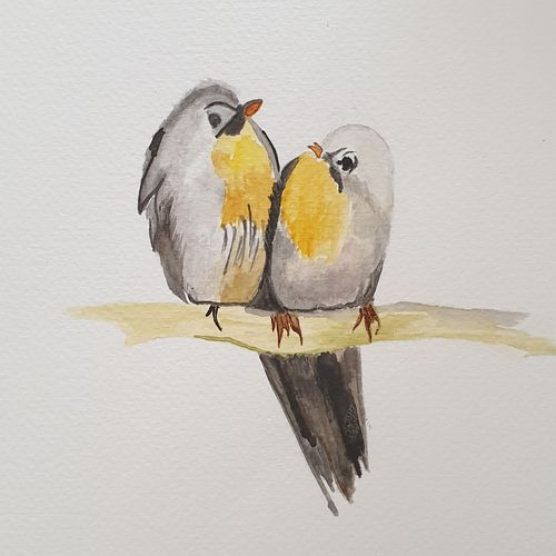 birds of a feather, 9 x 12 inch, swatee chaturvedi,9x12inch,brustro watercolor paper,paintings,nature paintings   scenery paintings,paintings for dining room,paintings for living room,paintings for bedroom,paintings for office,paintings for kids room,paintings for school,watercolor,GAL02168333468