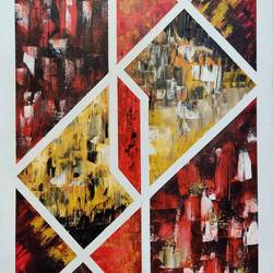 tangram red, 20 x 24 inch, sahil jain,20x24inch,canvas,paintings,abstract paintings,paintings for dining room,paintings for living room,paintings for bedroom,paintings for office,paintings for hotel,acrylic color,GAL02013833474