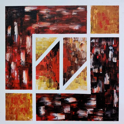tangram square, 18 x 18 inch, sahil jain,18x18inch,canvas,paintings,abstract paintings,paintings for dining room,paintings for living room,paintings for bedroom,paintings for office,paintings for hotel,paintings for hospital,acrylic color,GAL02013833483