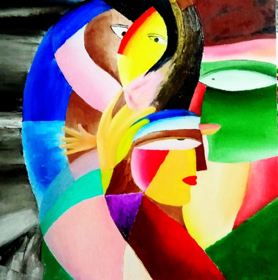 endless love - romance 002, 20 x 20 inch, inderjeet singh,20x20inch,canvas,paintings,abstract paintings,figurative paintings,paintings for dining room,paintings for living room,paintings for bedroom,paintings for office,paintings for bathroom,paintings for kids room,paintings for hotel,paintings for kitchen,oil color,GAL0571533485