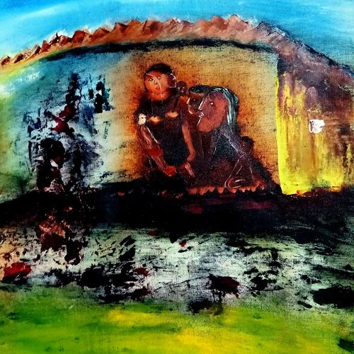 family 001, 16 x 12 inch, inderjeet singh,16x12inch,canvas,paintings,abstract paintings,figurative paintings,paintings for dining room,paintings for living room,paintings for bedroom,paintings for office,paintings for kids room,paintings for hotel,paintings for kitchen,oil color,GAL0571533486