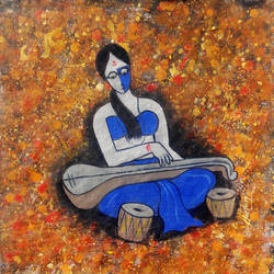embrace the chord, 14 x 14 inch, chetan katigar,religious paintings,paintings for dining room,canvas,mixed media,14x14inch,GAL02663349