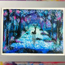dazzling night of the blue forest, 16 x 12 inch, dr anjali chaudhari,16x12inch,canvas,paintings,abstract paintings,wildlife paintings,figurative paintings,foil paintings,conceptual paintings,nature paintings | scenery paintings,love paintings,paintings for dining room,paintings for living room,paintings for bedroom,paintings for office,paintings for bathroom,paintings for kids room,paintings for hotel,paintings for kitchen,paintings for school,paintings for hospital,acrylic color,fabric,GAL02170733498