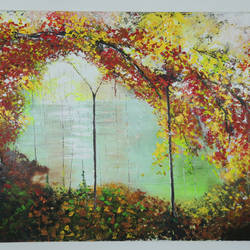 leaf me alone , 6 x 4 inch, manjit  vani,6x4inch,canvas,paintings,landscape paintings,acrylic color,oil color,GAL02127433503