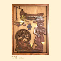 court of gods and kings, 27 x 38 inch, shriram mandale,27x38inch,wood board,handicrafts,wall hangings,wood,GAL02165133519
