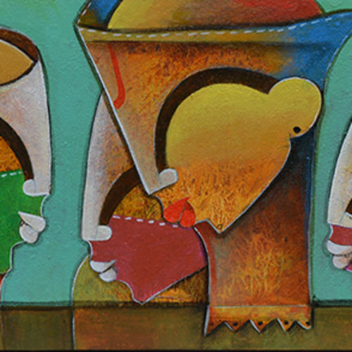 persona's, 12 x 42 inch, anupam  pal,religious paintings,paintings for living room,horizontal,canvas,acrylic color,12x42inch,GAL0823352