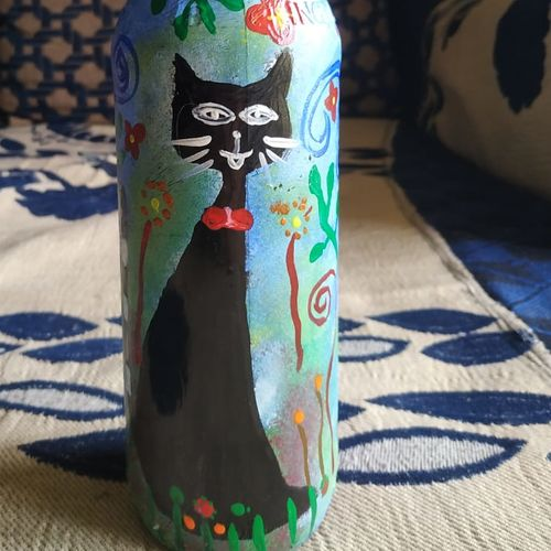 hand made ethnical bottle painting, 3 x 12 inch, vandana v,3x12inch,acrylic glass,animal statues,acrylic color,GAL02173633530