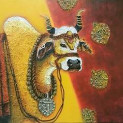 bull in festival, 36 x 30 inch, shatakshi  sharma,36x30inch,canvas,paintings,abstract paintings,modern art paintings,religious paintings,animal paintings,paintings for dining room,paintings for living room,paintings for bedroom,paintings for hotel,paintings for kitchen,paintings for school,paintings for hospital,acrylic color,GAL0670333533