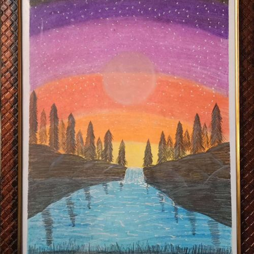 sunset scene, 12 x 17 inch, aditya bansal,12x17inch,thick paper,paintings,nature paintings | scenery paintings,paintings for dining room,paintings for living room,paintings for bedroom,paintings for office,paintings for kids room,paintings for dining room,paintings for living room,paintings for bedroom,paintings for office,paintings for kids room,oil color,pastel color,graphite pencil,paper,GAL02173233538