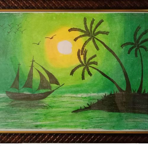sunset scene, 12 x 17 inch, aditya bansal,12x17inch,thick paper,paintings,nature paintings   scenery paintings,paintings for dining room,paintings for living room,paintings for bedroom,paintings for office,oil color,pastel color,graphite pencil,paper,GAL02173233541