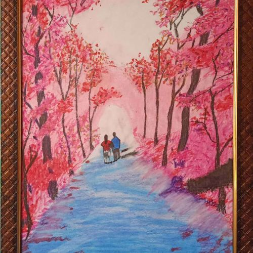 forest scene, 12 x 17 inch, aditya bansal,12x17inch,thick paper,paintings,wildlife paintings,flower paintings,paintings for dining room,paintings for living room,paintings for bedroom,paintings for office,oil color,pastel color,graphite pencil,GAL02173233545
