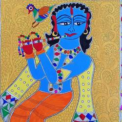 madhubani art krishna with flute, 15 x 11 inch, nimisha kumari,15x11inch,handmade paper,paintings,folk art paintings,religious paintings,madhubani paintings | madhubani art,paintings for living room,paintings for bedroom,paintings for office,paintings for kids room,paintings for hotel,paintings for school,acrylic color,mixed media,paper,GAL02122733551